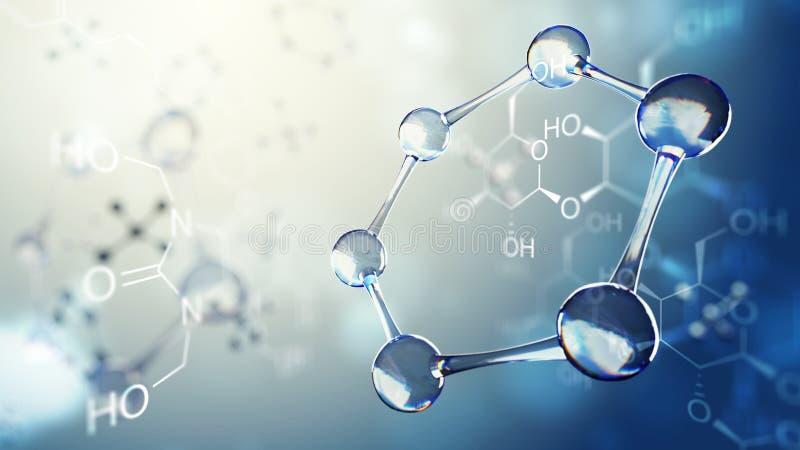 3d分子模型的例证 与分子和原子的科学背景 向量例证