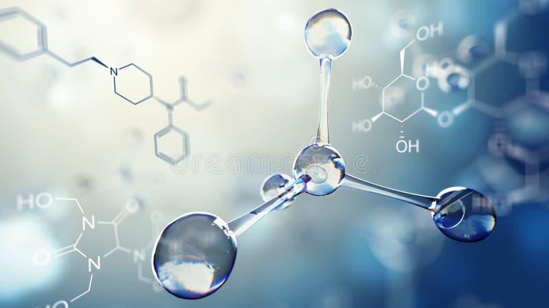 3d分子模型的例证 与分子和原子的科学背景 皇族释放例证