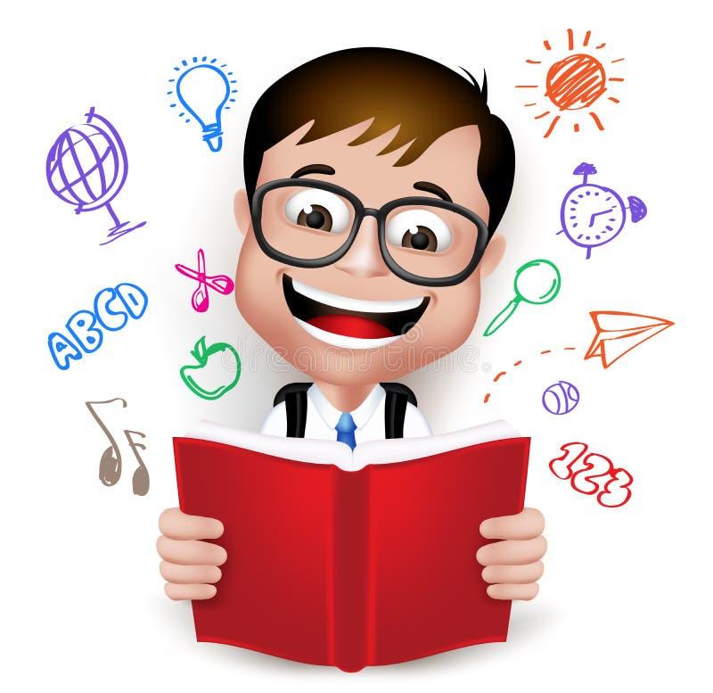 3D创造性的想法现实聪明的孩子男生阅读书  库存例证