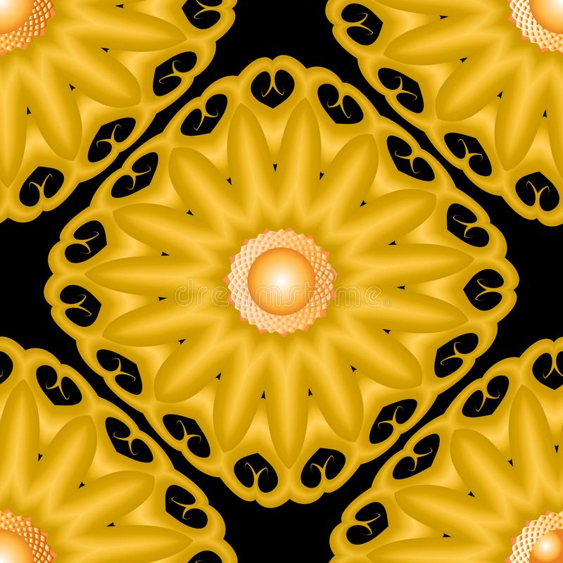 3d创造性的花卉传染媒介无缝的样式 现代装饰背景 摘要表面织地不很细花 皇族释放例证