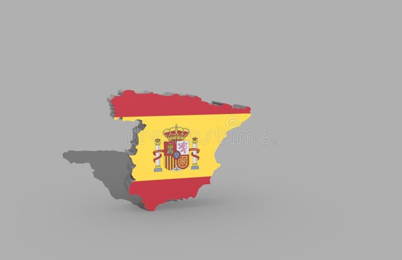 3d利比里亚半岛的例证与西班牙旗子的 免版税库存图片