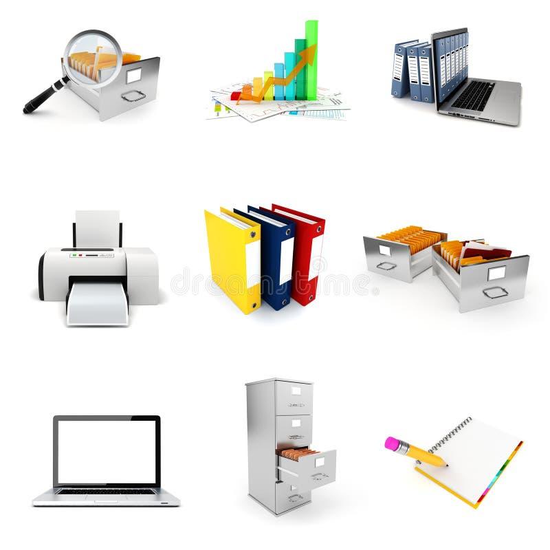 3d办公室元素集 库存例证