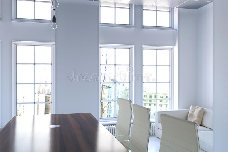 3d办公室内部翻译与大窗口特写镜头的 皇族释放例证