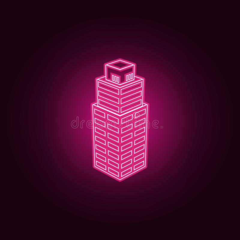 3d办公楼象的例证 3d在霓虹样式象的大厦的元素 网站的简单的象,网络设计,流动 皇族释放例证