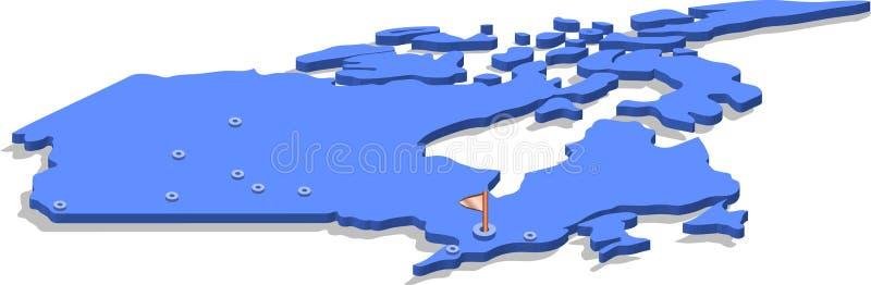 3d加拿大的等轴测图地图有蓝色表面和城市的 被隔绝的,白色背景 向量例证