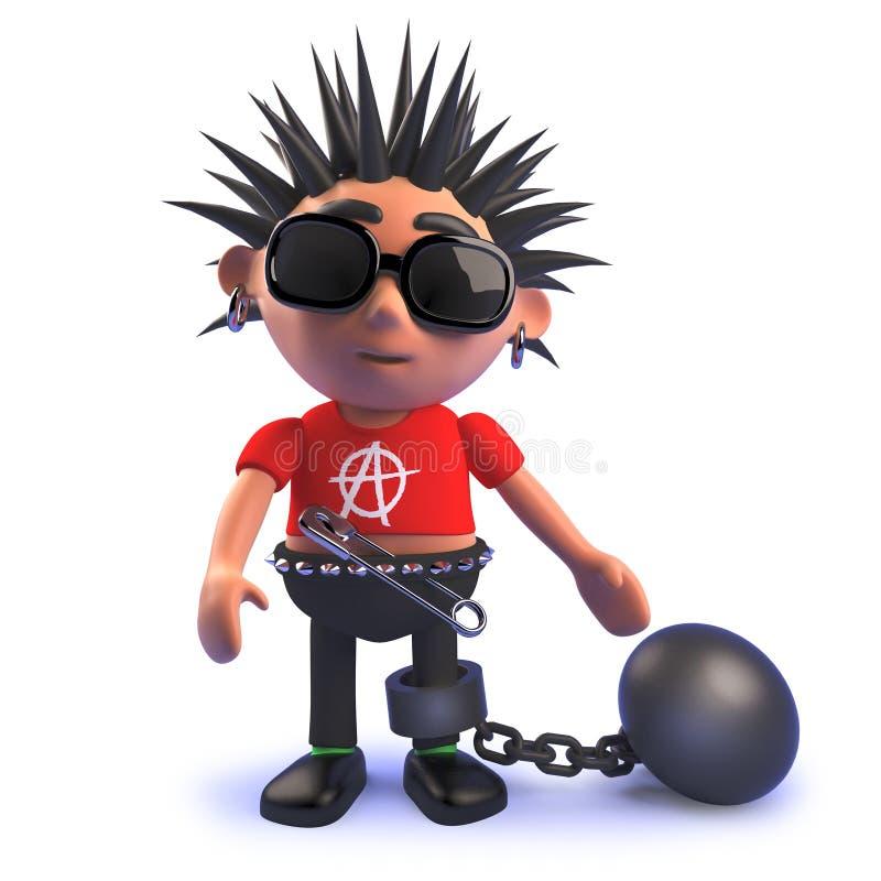 3d动画片佩带锁链的庞克音乐的表演者孩子 皇族释放例证