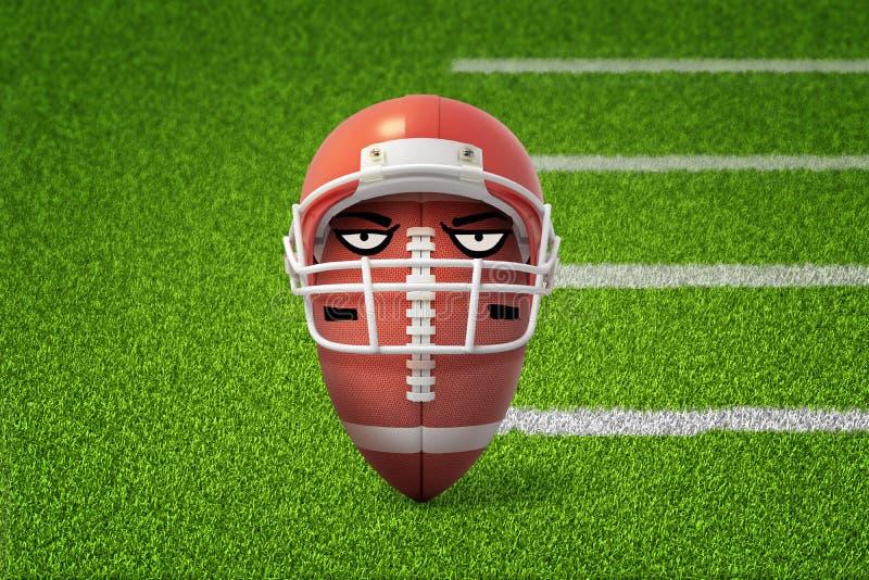 3d动画片兴高采烈的美式足球球佩带的盔甲翻译在绿色领域背景的 向量例证