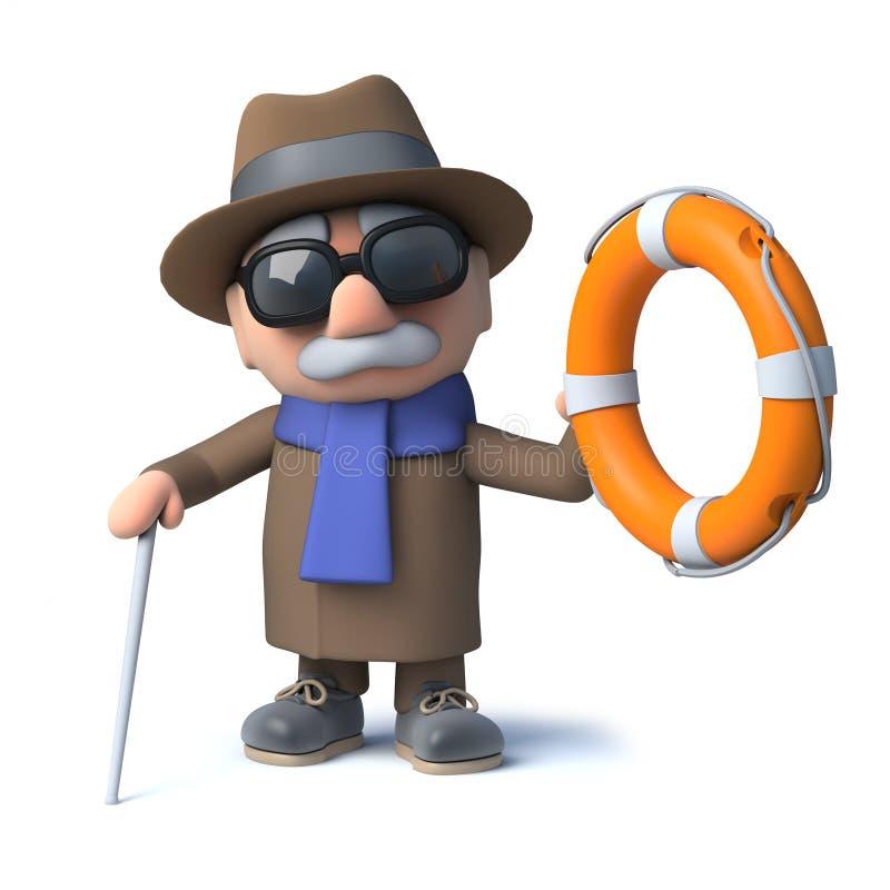 3d动画片盲人字符救助与lifering 皇族释放例证