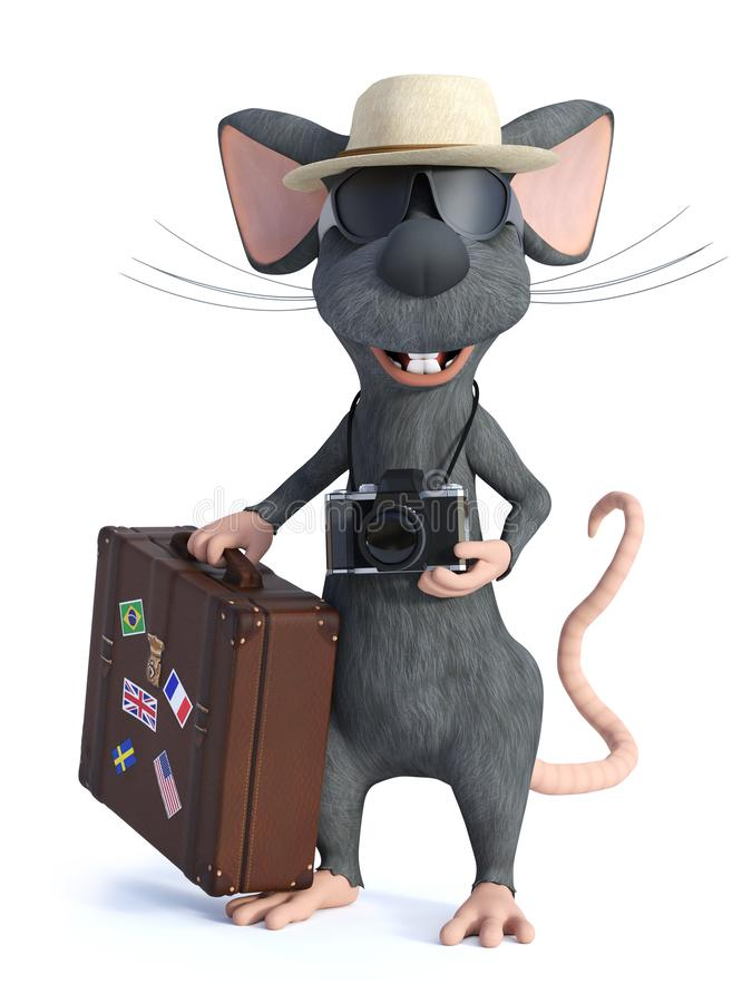 3D动画片老鼠游人藏品旅行手提箱的翻译 向量例证