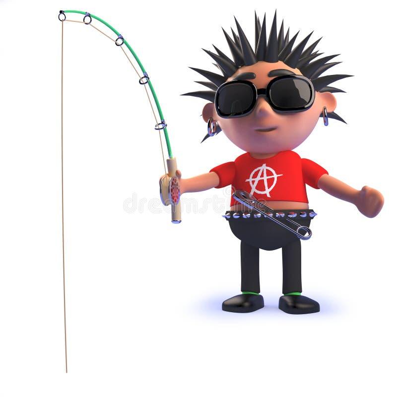 3d动画片腐烂的庞克音乐的表演者字符钓鱼 库存例证