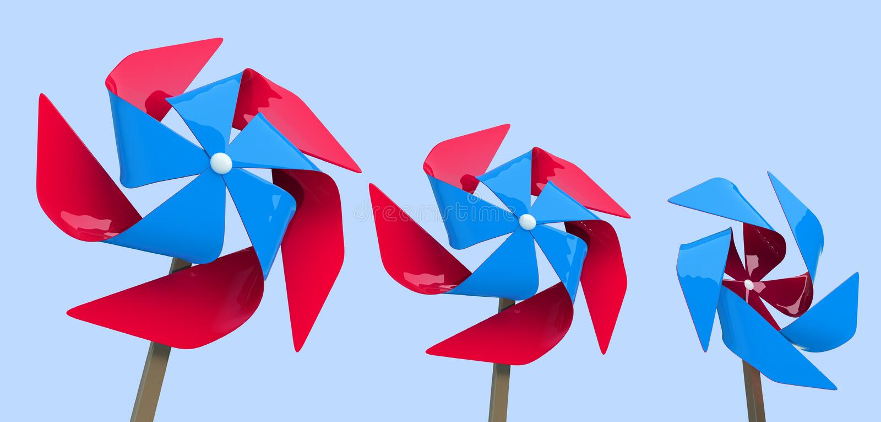 3d动画片风格化五颜六色的风车 向量例证