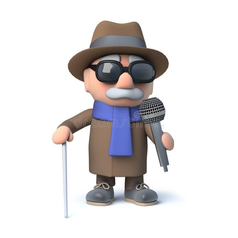 3d动画片盲人字符唱歌入话筒 皇族释放例证
