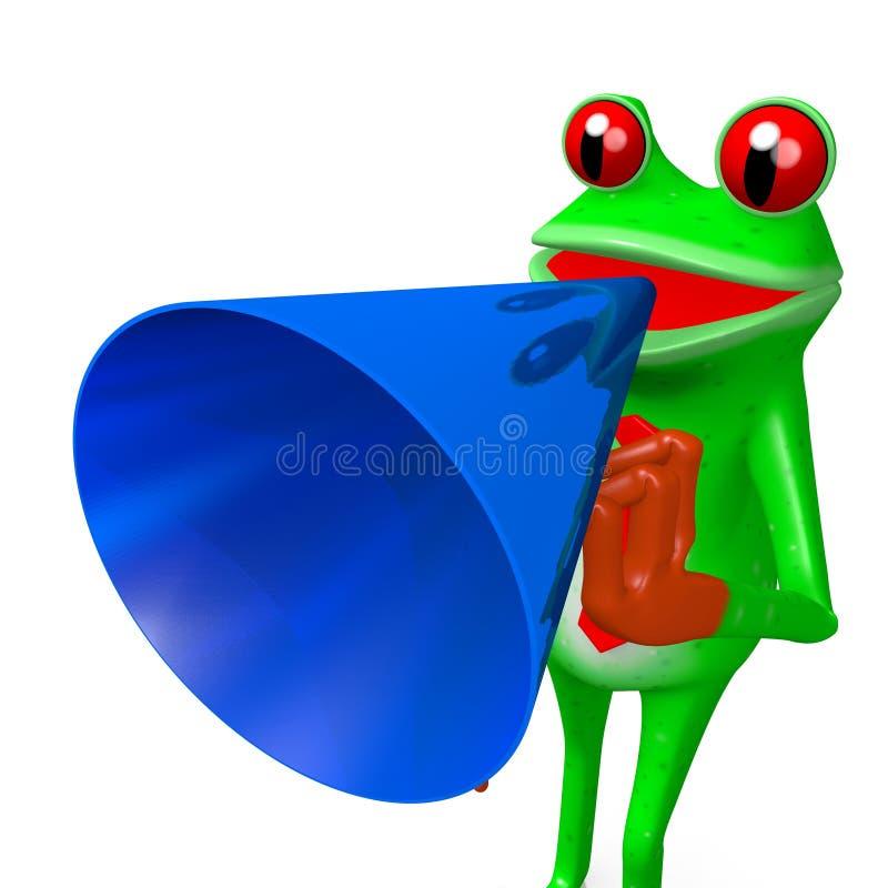3D动画片青蛙-扩音器概念 向量例证