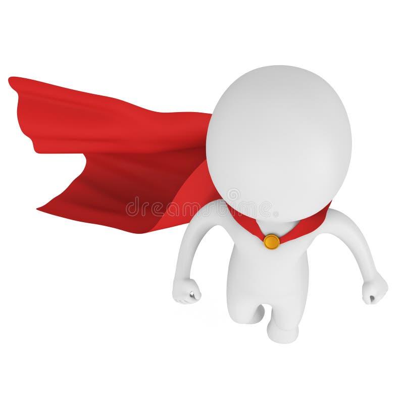 3d勇敢有上面红色斗篷飞行的超级英雄 库存例证
