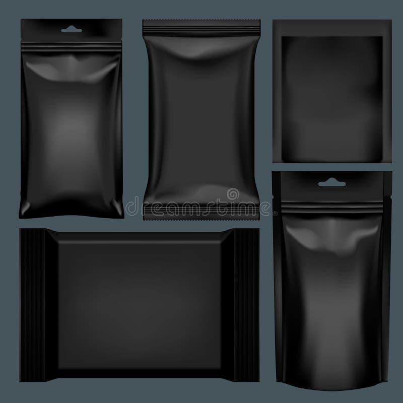 3D包装为食物集合的现实黑聚合物 库存例证