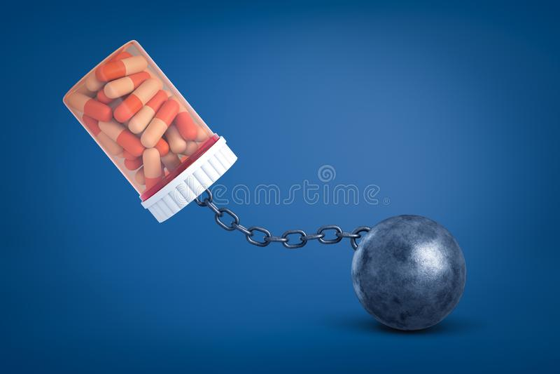 3d医疗药片瓶子翻译被束缚对在蓝色背景的金属球 向量例证