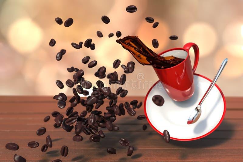 3D升空红色咖啡杯翻译射击有疏散co的 皇族释放例证