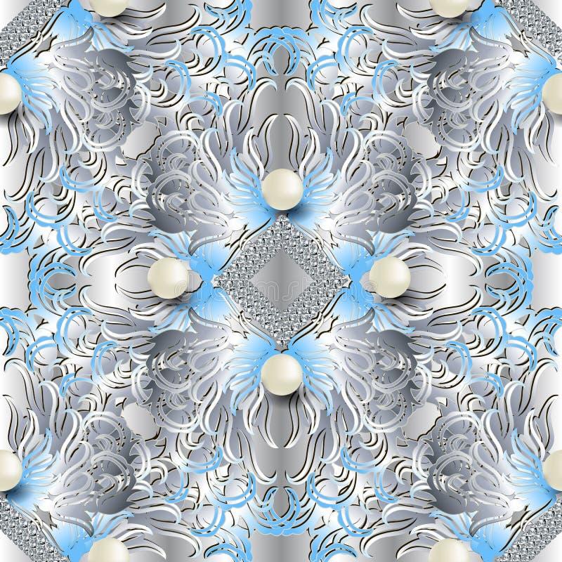 3d华丽首饰巴洛克式的传染媒介无缝的样式 葡萄酒花,金刚石,线,叶子 首饰成珠状宝石 银 向量例证