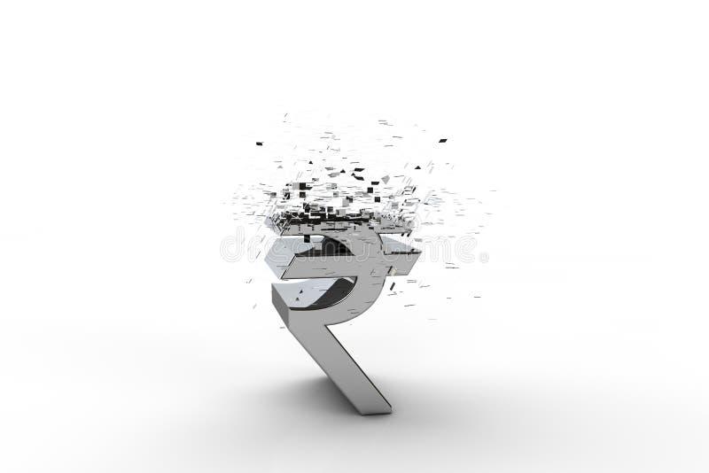 3D卢比货币符号爆炸 库存例证
