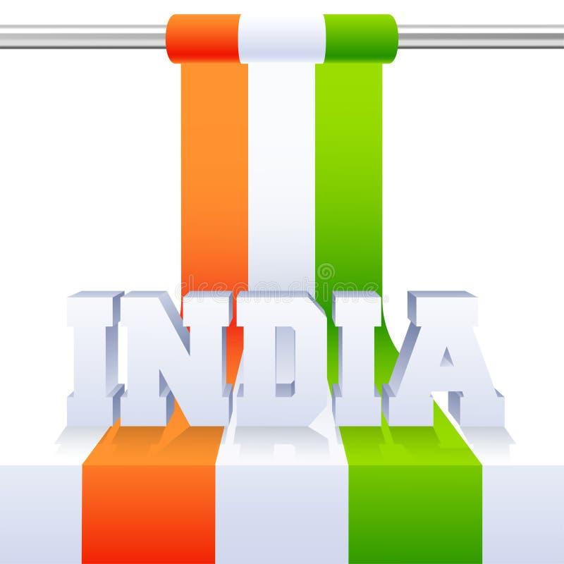3D印度的字法有国旗的在光滑的背景 向量例证
