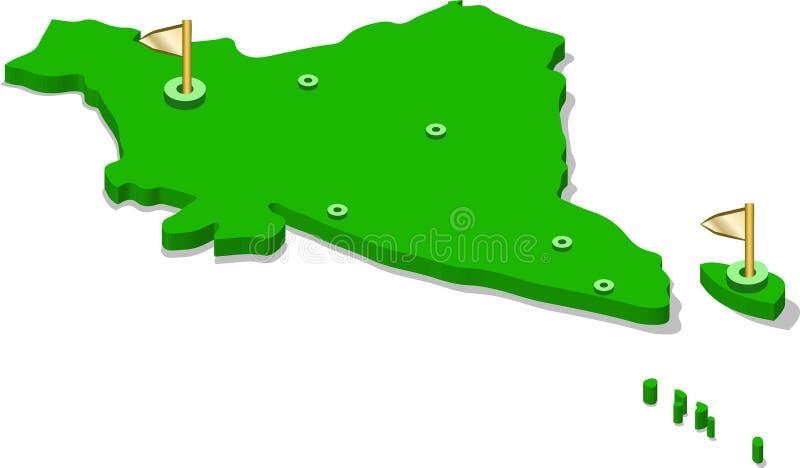 3d印度的等轴测图地图有绿色表面和城市的 向量例证