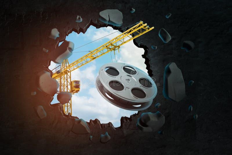 3d卷扬起重机运载的影片轴和打破留给在它的黑墙壁翻译孔进行下去的天空蔚蓝 向量例证