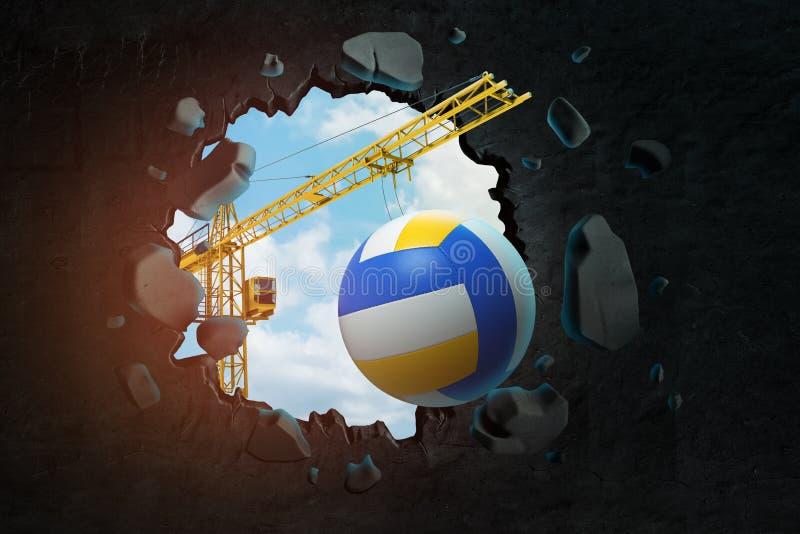 3d卷扬起重机运载的排球和打破留给在它的黑墙壁翻译孔进行下去的天空蔚蓝 皇族释放例证