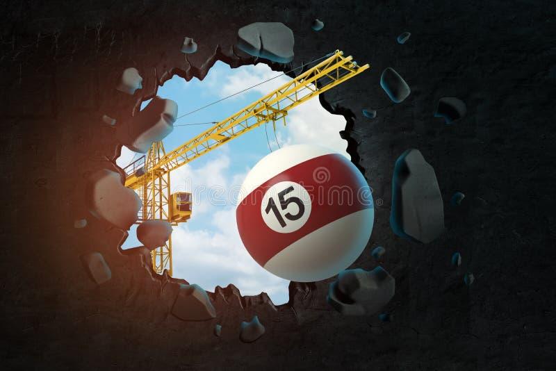 3d卷扬起重机运载的落袋撞球球和打破留给在它的黑墙壁翻译孔天空蔚蓝看 向量例证