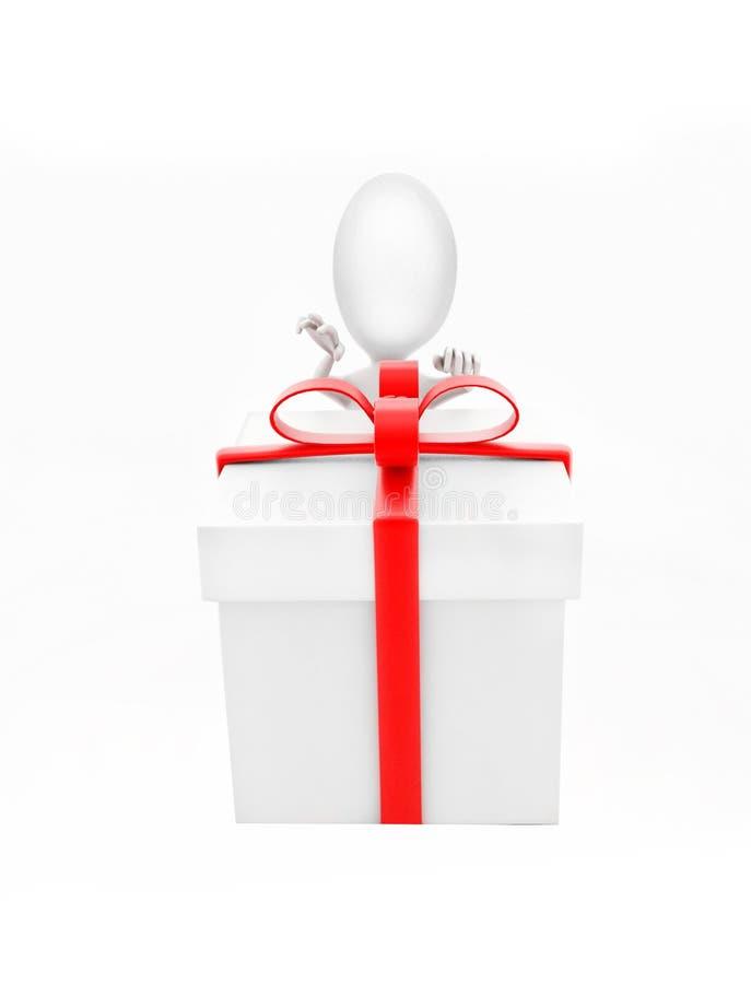3d去的人打开礼物盒概念 向量例证