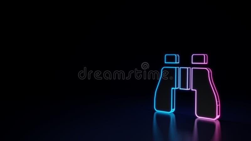 3d双筒望远镜的标志的发光的霓虹标志在黑背景隔绝的 库存例证