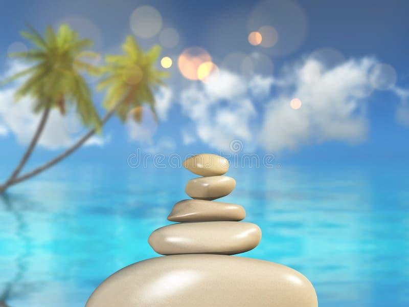 3D反对一个defocussed热带风景的平衡的小卵石 向量例证