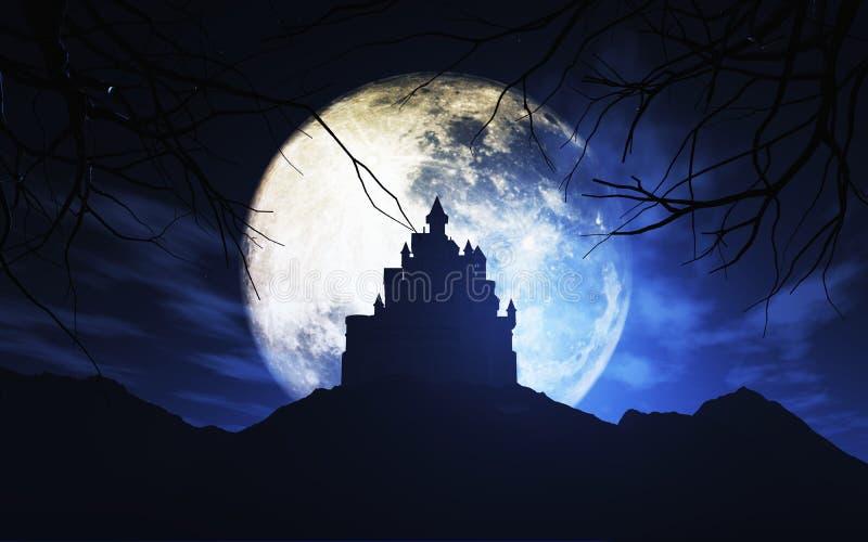 3D反对被月光照亮天空的鬼的城堡 皇族释放例证