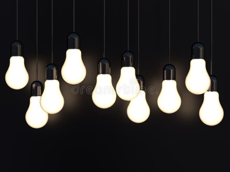 3d发光在黑色的回报轻的白炽电灯泡 向量例证