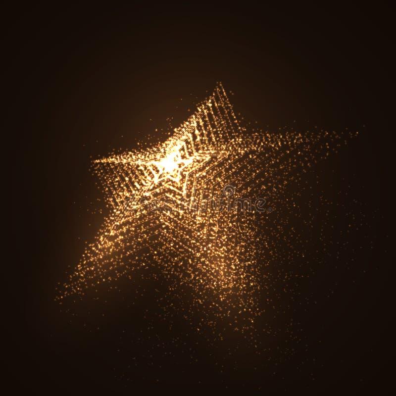 3D发光的微粒被阐明的星形状  库存例证