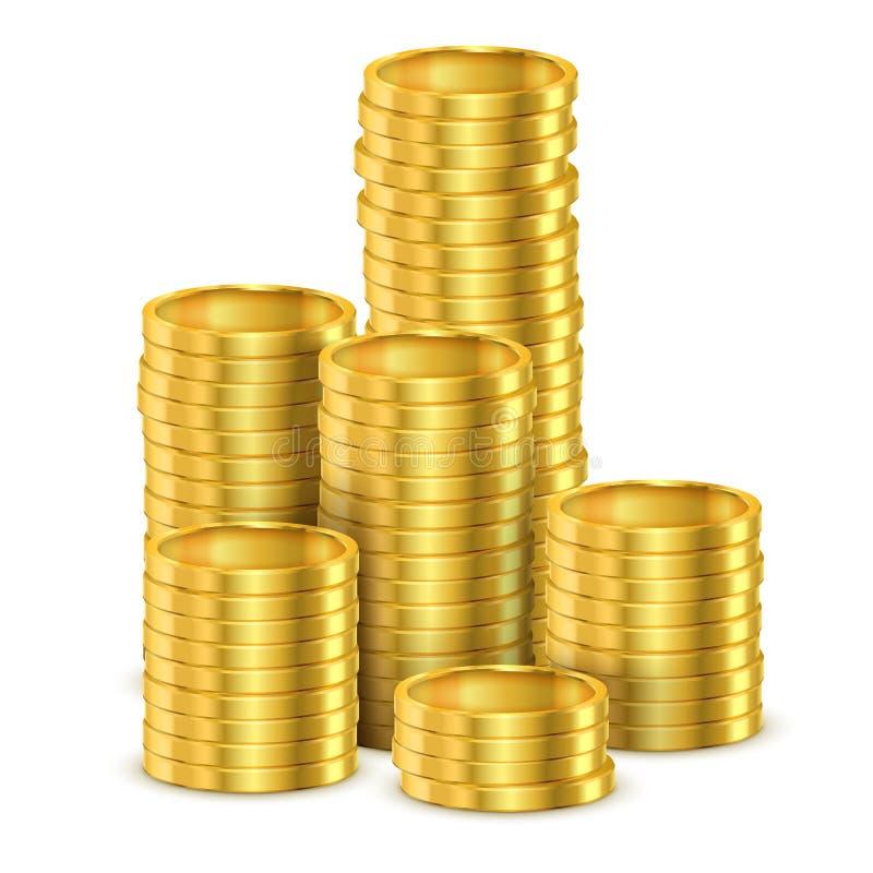 3d发光的硬币或现实金黄金钱堆  向量例证