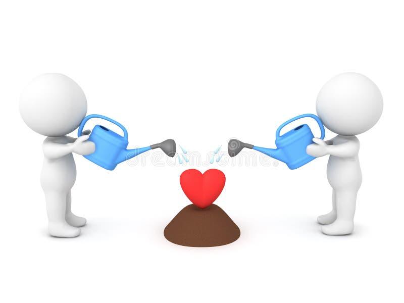 3D发展一个爱恋的关系的概念图象 库存例证