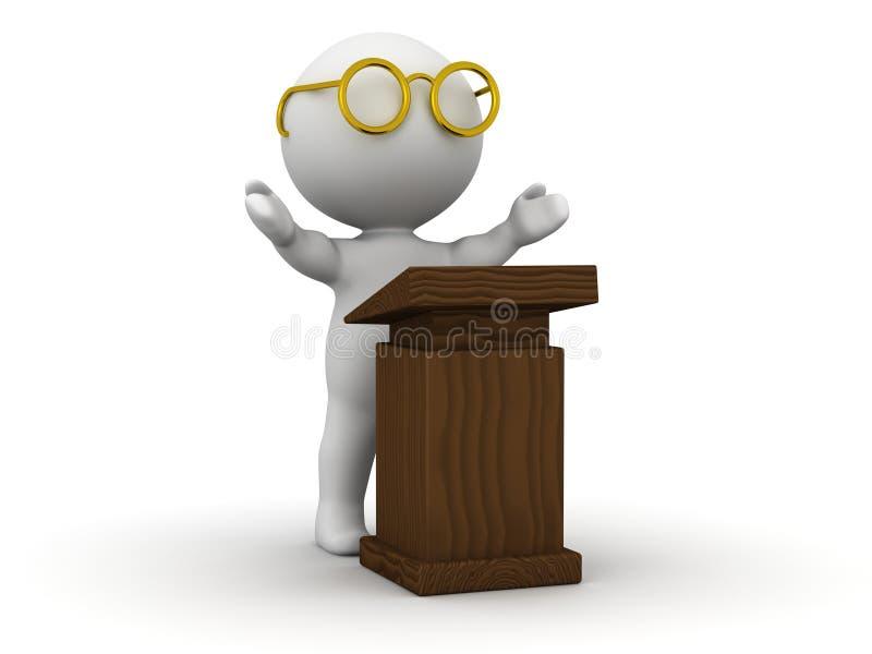 3D发表与讲演台的人讲话 库存例证