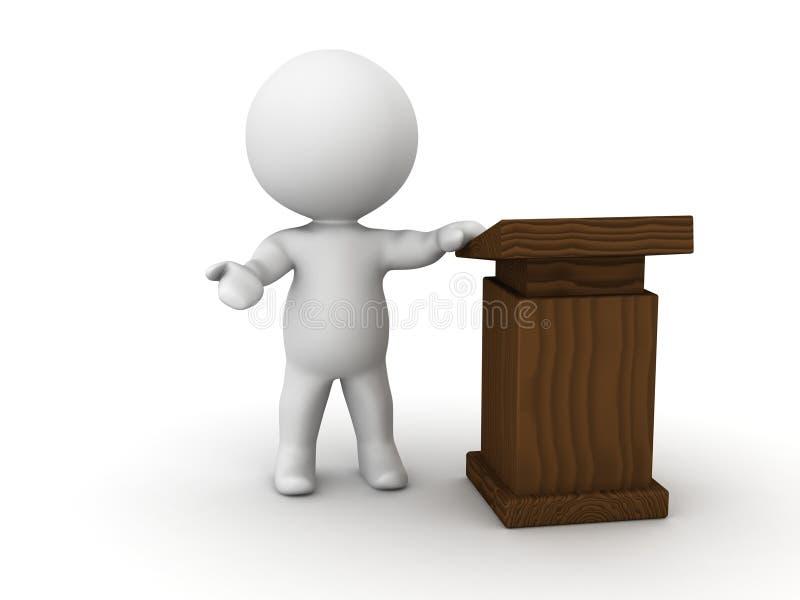 3D发表在讲演台旁边的人讲话 皇族释放例证
