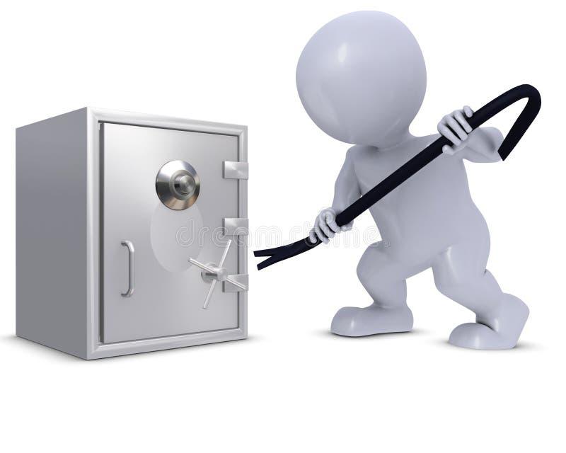 3D变体闯入保险柜的人 皇族释放例证