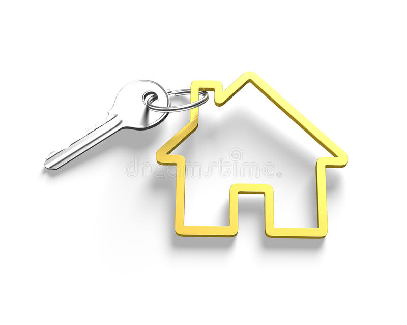 3D变成银色钥匙和房子形状钥匙圈 向量例证
