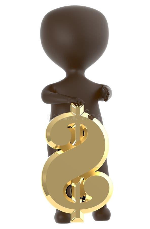 3d变褐提出一个金黄发光的美元的符号的字符 向量例证