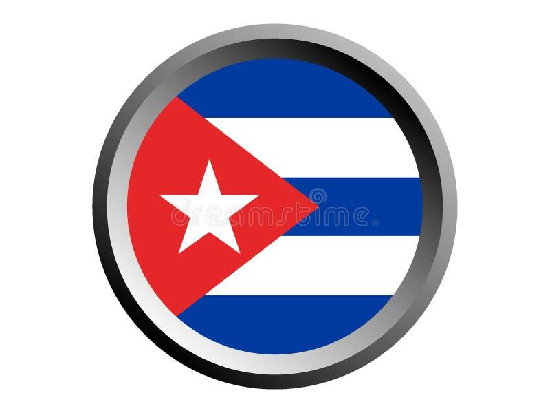 3D古巴的回合旗子 库存例证
