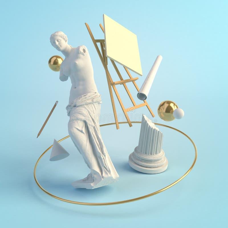 3d古老艺术的例证概念,米罗的维纳斯,专栏,画架,教育雕象,创造性 皇族释放例证