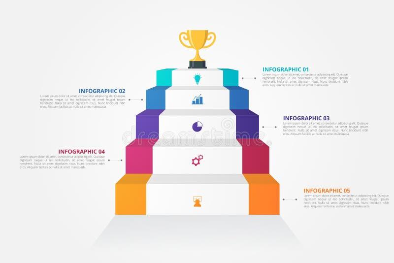 3D台阶事务的,教育,网络设计,横幅,小册子,飞行物Infographics模板 皇族释放例证