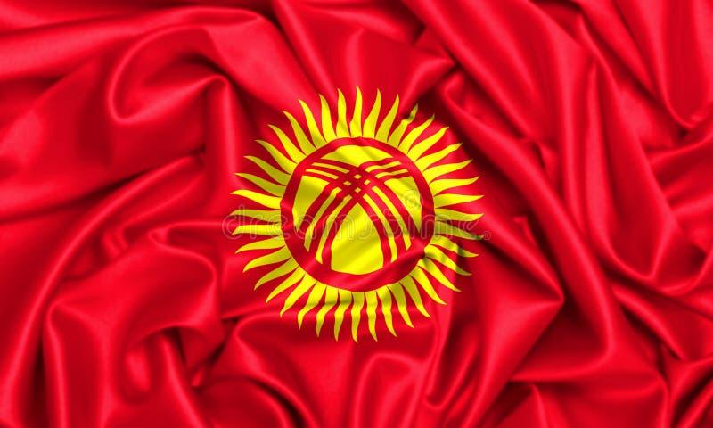 3d吉尔吉斯斯坦的挥动的旗子 库存例证