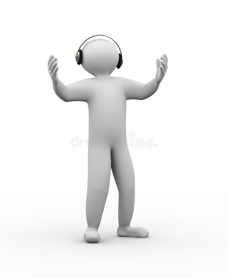 3d唱歌人姿态 库存例证