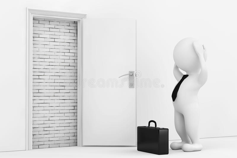 3d商人在白色被打开的门附近强调说阻拦与Bric 库存例证