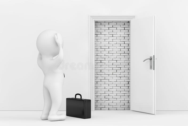 3d商人在白色被打开的门附近强调说阻拦与Bric 皇族释放例证