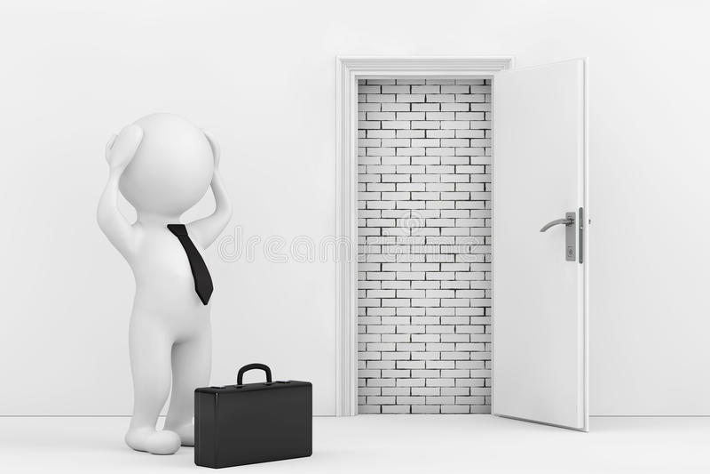3d商人在白色被打开的门附近强调说阻拦与Bric 向量例证