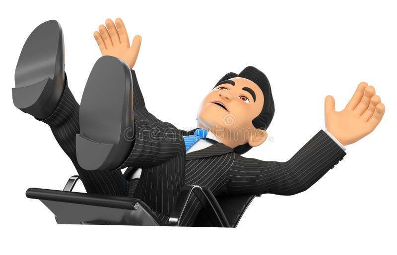 3D商人惊吓了落他的办公室椅子 向量例证